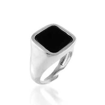 Anello da mignolo con pietra nera quadrata Alexia Gioielli Home RB-AG23AUQ
