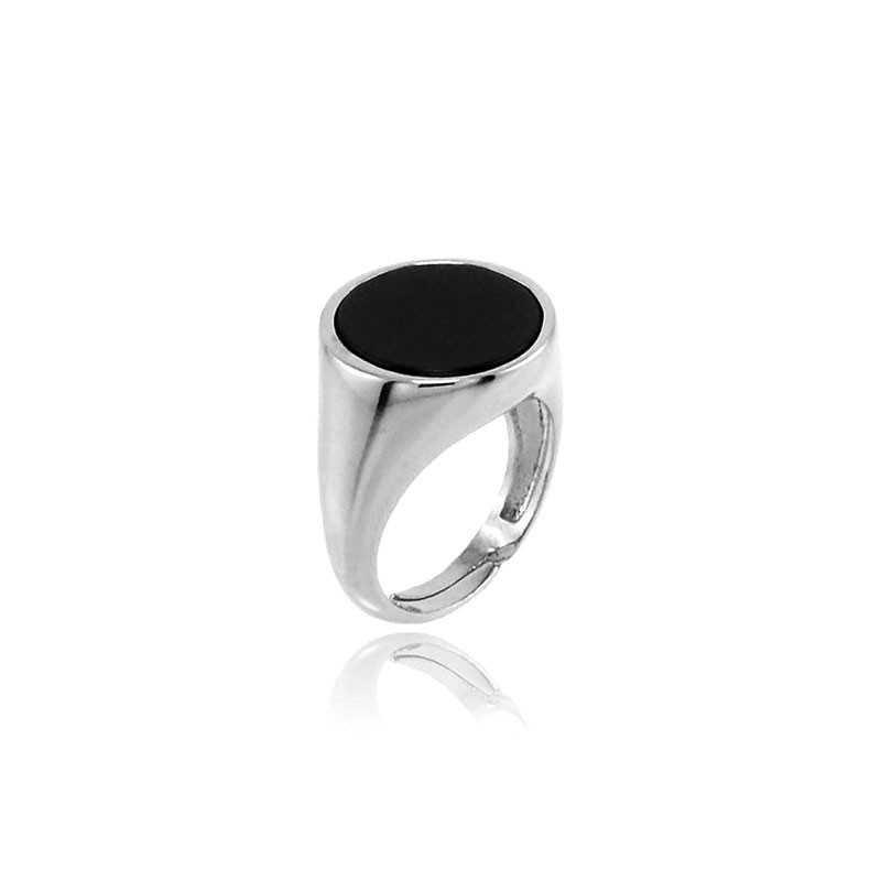 Anello da mignolo con pietra nera tonda Alexia Gioielli Home RB-AG23AUR