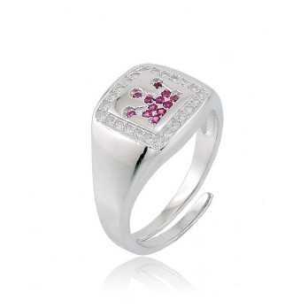 Anello in argento con corona a pietre rosse Puca Jewels Anelli Uomo PJ-AG14ANC3