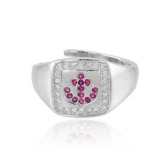 Anello in argento con ancora a pietre rosse Puca Jewels Anelli Uomo PJ-AG14ANC4