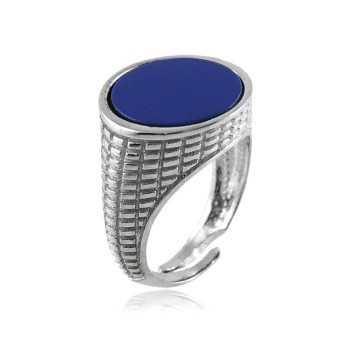 Anello uomo in argento e pietra blu Alexia Gioielli Anelli Uomo AN-AG260U16