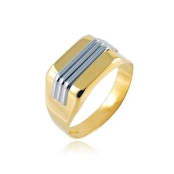 Anello uomo in oro giallo e bianco Zoppi Gioielli jewelry Anelli Uomo AN-635AU109