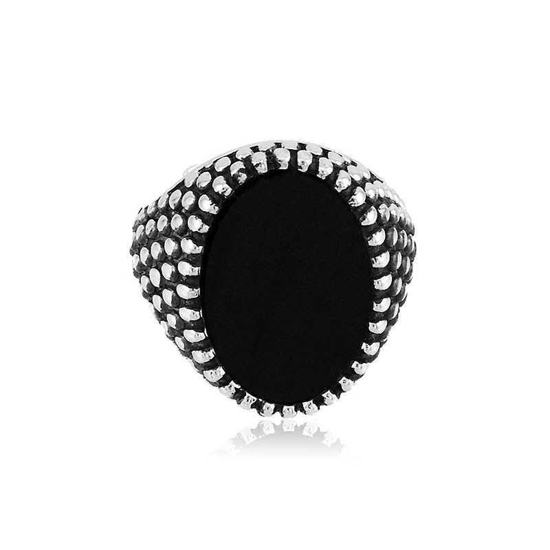 Anello uomo in argento e pietra nera ovale Alexia Gioielli Anelli Uomo RB-AG56ANU