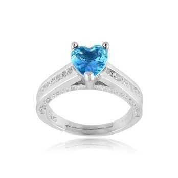 Anello solitario a cuore azzurro in argento  Anelli Donna AN1190AQ
