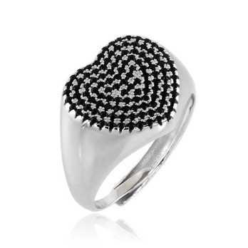 Anello a cuore in argento con pietre nere Alexia Gioielli Anelli Donna RB-AND26AGN