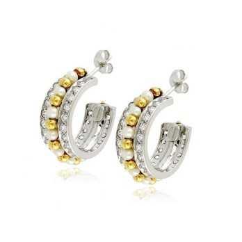 Toppe cerchio in oro bianco con pietre  Orecchini Donna OR1085PAUB