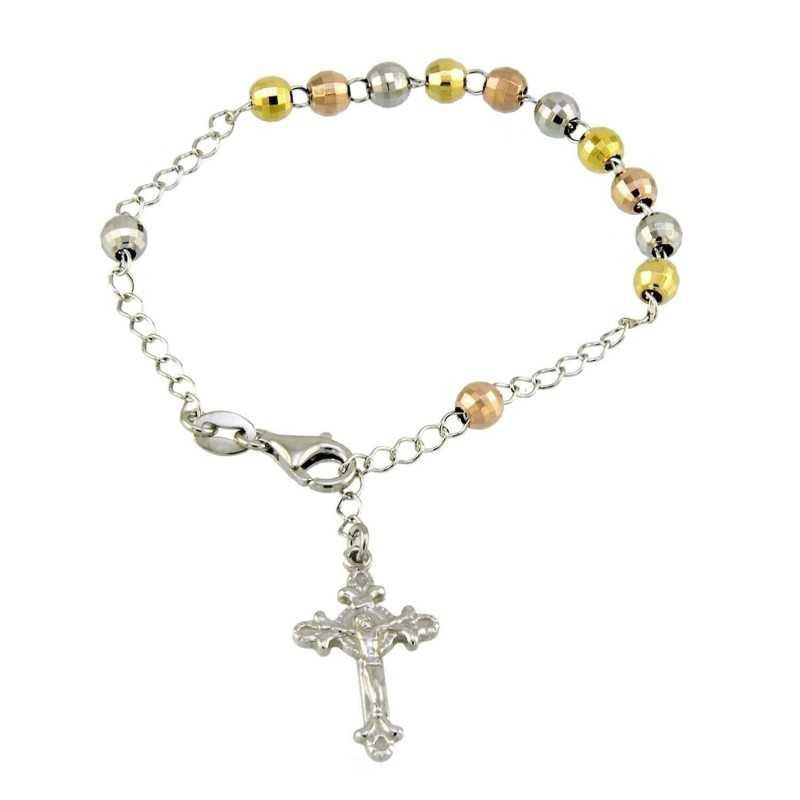 Bracciale a rosario argento 3 colori Alexia Gioielli Bracciali religiosi RB-AG1402BR