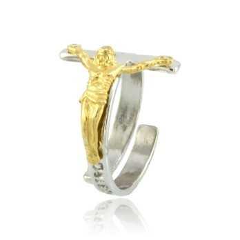 Anello con Cristo argento bicolore Alexia Gioielli Anelli religiosi RB-AG1704ANR
