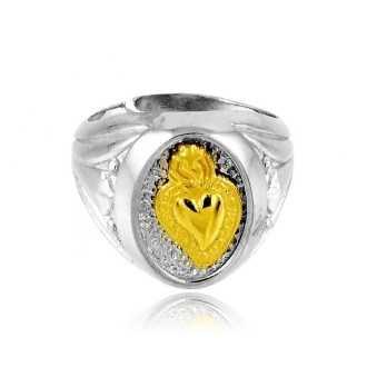 Anello sacro cuore in argento