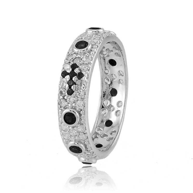 f06efe66359ea5 Anello rosario unisex in argento 925% con zirconi bianchi a pavè a giro  completo e zirconi neri