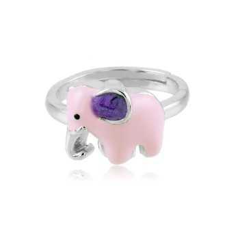 Anello bimba con elefante in argento