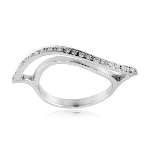 Anello fantasia a onda in oro bianco e diamanti  Anelli oro diamanti AN350D15
