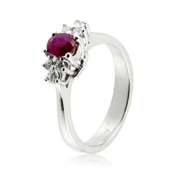 Anello in oro bianco con rubino e diamanti Zoppi Gioielli jewelry Anelli oro diamanti AN42D16R050