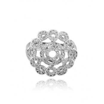 Anello in argento e swarovski a fiore fantasia