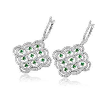 Orecchini pendenti argento swarovski e pietre verde smeraldo Le Meraviglie Orecchini Donna ORAGMSMC2