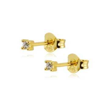 Punto luce 2,5 mm orecchini argento dorato