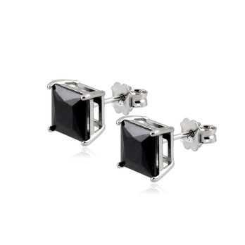 Orecchini argento pietra princess nera 8mm Alexia Gioielli Home RB-ORQ9AG8